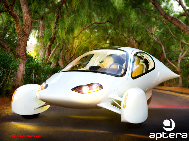 "Aptera, which is Greek for ""wingless"" is a three-wheel two-seater that boasts to be one of the most fuel efficient cars on the road. Although technically not classified as a car (they're calling it a motorcycle) the Aptera is in development and the company is taking pre-orders from California residents. It goes from 0-60 in less than 10 seconds and the price tag is as light as the model, they only want $26,900 for the all-electric and $29, 900 for the plug-in hybrid bad boy. This is truly a spaceship on wheels!"