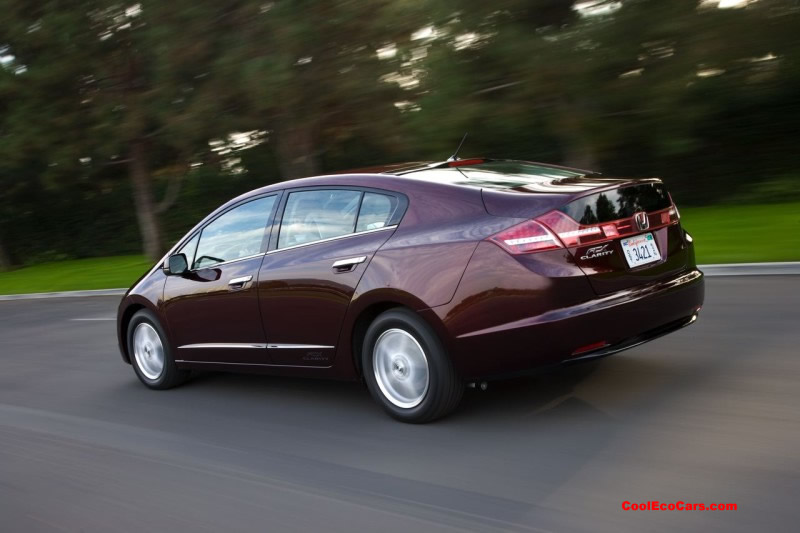 The 134-hp Honda FCX Clarity gets a combined fuel-economy of 74mpg according to EPA mileage estimates. The car is capable of a 280 mile range. CoolEcoCars.com